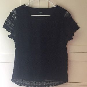J. Crew black embroidered top size 6